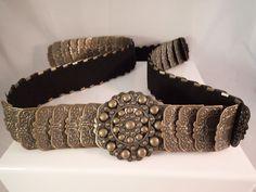 "Womens Gold Brass Medallion Belt 47.5"" Waist Plus Size 26 27 28 Stretchable"