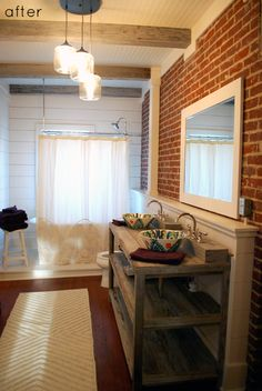 From laundry room attached to master bedroom in old house, to industrial chic master bathroom.