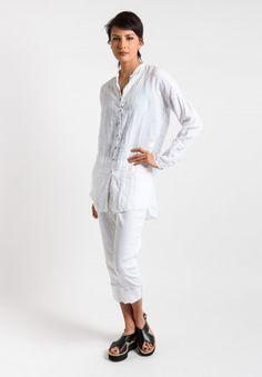 Album di Famiglia Linen Shirt in White