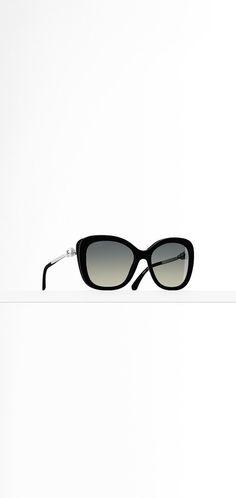 Square acetate sunglasses, metal... - CHANEL