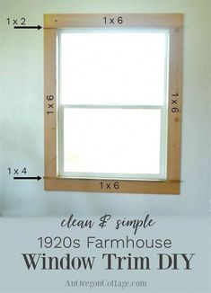Simple Farmhouse Window Trim DIY Recreate a classic simple farmhouse window trim with a few tools and basic lumber What a change you can make for around Farmhouse Trim, Farmhouse Windows, Farmhouse Decor, Farmhouse Style, French Farmhouse, Modern Farmhouse, Home Remodeling Diy, Home Renovation, Kitchen Remodeling