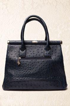 Milan Ostrich Dark Blue Handbag 88 4432 0002W