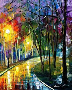 Walkway In The Park - Palette Knife Oil Painting On Canvas By Leonid Afremov Painting by Leonid Afremov