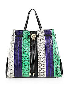 Roberto Cavalli - Small Striped Snakeskin Top-Handle Tote