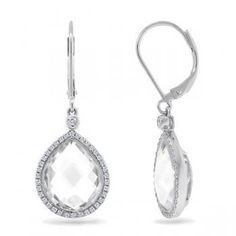 0.25ct Diamond & 11.90ct White Topaz 14k White Gold Earrings - Allurez.com