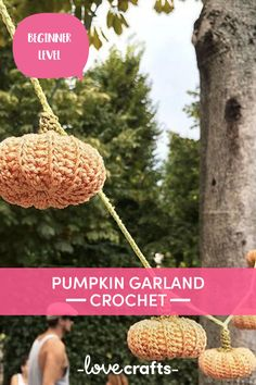 Make this crochet Halloween decoration and hang around your house or out in your garden for this year's Halloween party! A simpe pattern that you're sure to pick up quickly. | Downloadable PDF at LoveCrafts Halloween Crochet, Halloween Crafts, Halloween Party, Halloween Decorations, Crochet Pumpkin, Yarn Stash, Crochet Patterns For Beginners, Free Crochet, Gift Tags