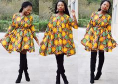 Item details 5 out of 5 stars. (4) reviews Shipping & Policies Stunning African clothing --- Vibrant multiple color flared dress.  Can be worn with a belt or just on it own.   Please check your measurement before placing an order.   *Ankara African Print *Cotton *Dry clean optimal  US 4   Size 6   size 8   Size 10