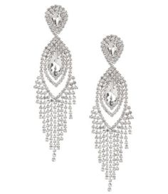 Cezanne Navette Rhinestone Fringe Statement Earrings #Dillards