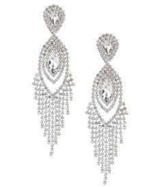 Cezanne Navette Rhinestone Fringe Statement Earrings #Dillards
