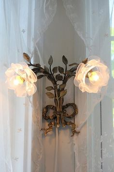 TWO sconces on each side of my newly shabby chic-decorated room.its a touch of love-you bet.Brandy, having fun decorating, time doing Shabby Chic.dedicating 1 room to my beloved Shabby treasures.