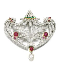 Lot 191 - Natural pearl, gem set and diamond brooch-pendant, Early 20th Century