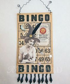 Halloween Witch on Altered Bingo Card Hanging by RackyRoad on Etsy, $10.00