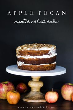 Learn how to make this Apple Pecan Rustic Naked Cake, a moist and forgiving spice cake baked with apples and pecans and topped with brown…
