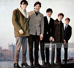 Photo of English pop group The Dave Clark Five posed in London circa 1965. Left to right: Denis Payton, Mike Smith, Dave Clark, Rick Huxley and Lenny Davidson.