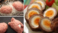 Skryté vajíčkové překvapení, zabalené v směsi vepřového a hovězího masa. Netradiční karbanátky.