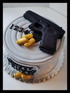 Glock Birthday cake, #glock #pistolcake #target