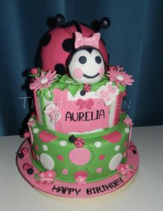 Lady bug themed birthday cake I made for one of our friends daughter's first birthday