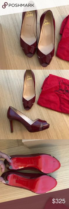 Christian Louboutin Burgundy Peeptoe pumps Burgundy peep toe Christian louboutin pumps. Brand new in box. Minor scuffs on soles from try ons in store. Size 36 wide Christian Louboutin Shoes Heels