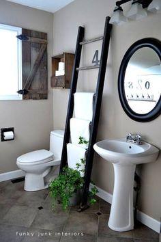 Funky Junk Interiors: Old ladder towel rack, I also love the shutter. Bathroom Towel Storage, Diy Bathroom, Bathroom Towels, Bathroom Organization, Bathroom Ideas, Bathroom Ladder, Organization Ideas, Basement Bathroom, Vanity Bathroom
