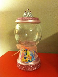 Disney Princesses W/Glitter Candy Jar by designzbyvalerie on Etsy, $15.00