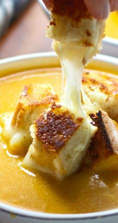 Butternut Squash, Apple Cider and Cheddar Soup with Roasted Garlic Cheddar Grilled Cheese Croutons