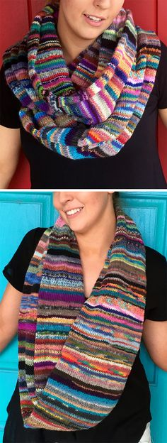 Free Knitting Pattern for Fiddly Bits Cowl - Create your own ball of yarn by knotting leftover bits of sock yarn for this cowl. This infinity cowl is knit in a tube so all the knots and stray ends are hidden in the tube's interior. Designed by Jana Pihota of Hipknitzer