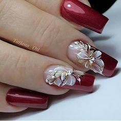 Bling Nail Art, Red Nail Art, Red Acrylic Nails, Bling Nails, Red Nails, Pastel Nails, Classy Nails, Stylish Nails, Golden Nail Art
