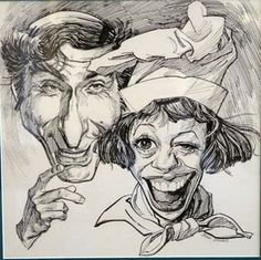 """Sid Caesar by John Johns   The late illustrator/caricaturist John A. Johns (1921-2005) might very well be the textbook example of a """"big f..."""