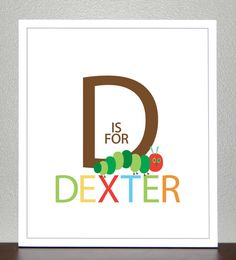 Nursery Decor, Prints for kids, Personalized name print - 8x10 - The Very Hungry Caterpillar