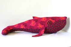 Pink shweshwe cotton huggy plush whale, from HuggyWhale on Etsy. Softies, Plushies, Fabric Toys, Sewing Projects, Sewing Ideas, Doll Maker, Soft Sculpture, Handmade Toys, Printing On Fabric