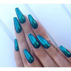 Chrome Mermaid Long Coffin Nails #nail #nailart #summer