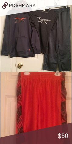 Reebok Boy's Sweatpant Outfit W/TShirt & Shorts Boys Youth Large Cold Gear Sweatpant Outfit. Right knee of sweatpants has a small thinned area of fabric at knee. Rest of outfit great condition! Reebok Other Sweatpants Outfit, Cold Gear, Winter Gear, T Shirt And Shorts, Winter Months, Reebok, Youth, Fashion Design