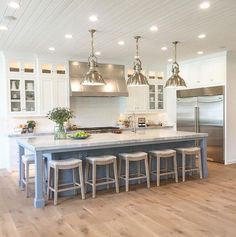 More ideas below: Rustic Large Kitchen Layout Design Farmhouse Large Kitchen Window Luxury Large Kitchen Island and Rug Modern Large Kitchen Decor Ideas Large Kitchen Floor Plans Remodel Farmhouse Kitchen Island, Rustic Kitchen, New Kitchen, Awesome Kitchen, Kitchen Corner, Beautiful Kitchen, Long Kitchen, Blue Kitchen Island, Vintage Kitchen