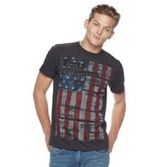 Instantly elevate your casual look with this striking men's t-shirt from Rock & Republic. Mens Patriotic Shirts, Casual Looks, Graphic Tees, Vintage Fashion, Flag, Mens Tops, T Shirt, Clothes, Box Store