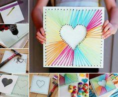 Wood, nail, string heart art