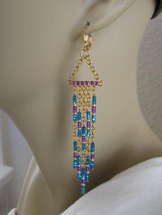 Seed Bead Earrings - Modern Native American Style - Turquoise/Purple