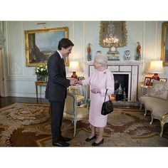 The Queen meets Justin Trudeau, the Prime Minister of Canada, for a private audience at Buckingham Palace.  Photo © Press Association  #TheQueen #Canada #BuckinghamPalace