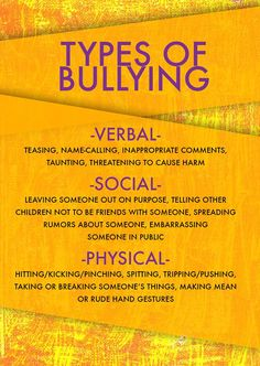 There are many different types of bullying. Some are obvious, while others are more subtle. Some of the most common types of bullying to look out for in your school and community include: verbal, social & physical. Social Emotional Learning, Social Skills, Different Types Of Bullying, Bullying Lessons, Anti Bullying Activities, Verbal Bullying, Examples Of Bullying, Workplace Bullying, Bullying Prevention
