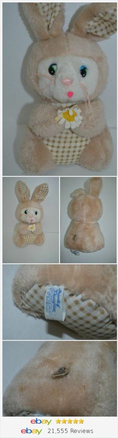 "Vintage Knickerbocker Bunny Musical Plush Mid Century Flower Brown 11"" turnkey http://stores.ebay.com/Lost-Loves-Toy-Chest"