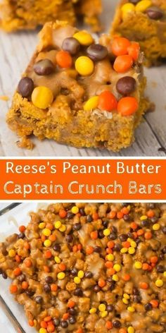 Reese& Peanut Butter Captain Crunch Bars are an easy dessert recipe perfect., Desserts, Reese& Peanut Butter Captain Crunch Bars are an easy dessert recipe perfect for peanut butter lovers. These peanut butter and marshmallow treats . Gourmet Recipes, Sweet Recipes, Cooking Recipes, Healthy Recipes, Easy Desert Recipes, Cooking Cake, Kitchen Recipes, Easy Cooking, Pasta Recipes