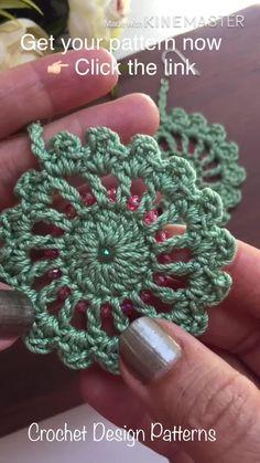 Crochet Jewelry Patterns, Crochet Earrings Pattern, Crochet Mandala Pattern, Crochet Motifs, Crochet Diagram, Crochet Art, Crochet Gifts, Crochet Accessories, Crochet Designs