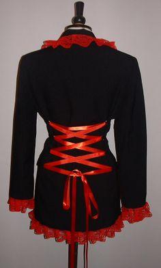 long black red coat riding jacket lace goth coat rockabilly steam punk burlesque  corset back   US sizes 8-16