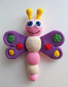 Crochet pattern for baby rattle - Amigurumi Today - Cute dolls etc. # for # crochet pattern Baby rattle crochet pattern - Amigurumi Today - Cute dolls . Crochet Baby Toys, Crochet Patterns Amigurumi, Amigurumi Doll, Crochet Animals, Crochet Dolls, Knitting Patterns, Crochet Butterfly, Butterfly Baby, Crochet Motifs