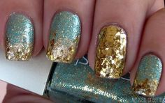 Turquoise and gold glitter nails