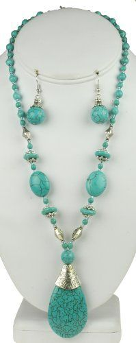 Turquoise Drop Natural Stone Necklace & Earring Set for only $9.99