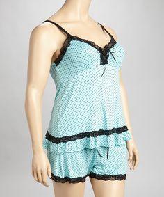 Look what I found on #zulily! Teal & Black Swiss Dot Lace Trim Sleep Short Pajama Set - Plus #zulilyfinds