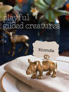 DIY Animal Wedding Place Card Holders // Instructions at www.modernwedding.com.au