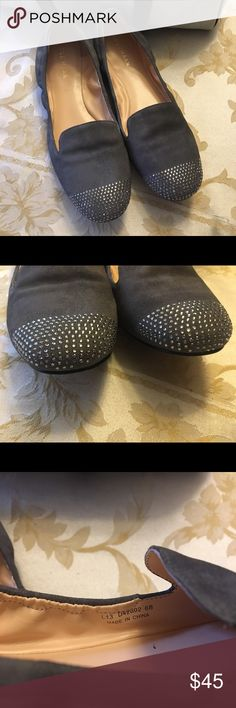 Cole haan grey suede loafers with bling Sz 6 , but runs small, reposh item. Simply beautiful, sad too small for me! Looks brand new besides the bottom. Love these!💕 Cole Haan Shoes Flats & Loafers