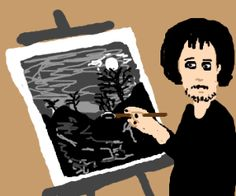 """Painting like Bob Ross"" (Drawception)."