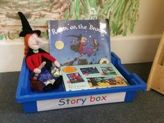 I have created a story box for my pre-schoolers which contains a book with a puppet or soft toy along with an activity that relates to the book.